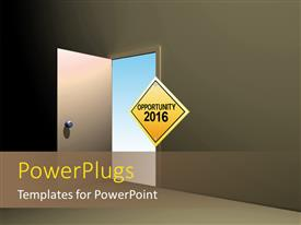 PowerPoint template displaying open door with sign board opportunity in 2016 with sky outside the door
