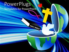 PowerPlugs: PowerPoint template with an open earth globe with a bible, cross and a dove