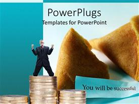 PowerPlugs: PowerPoint template with open fortune cookie with you will be successful message and stacks of coins with happy business man