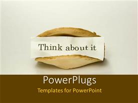 PowerPlugs: PowerPoint template with an open fortune cookie with text that spell out the words 'think about it'