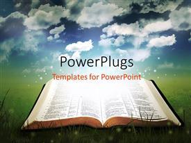 PowerPlugs: PowerPoint template with open glowing bible in a field under a pretty sky