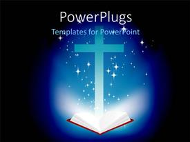 PowerPoint template displaying an open Holy Bible and a brightly lit cross