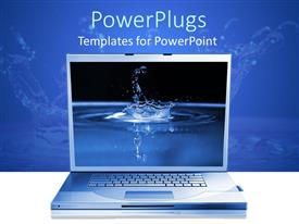 PowerPlugs: PowerPoint template with open laptop with background of close up high speed water drop