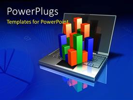 PowerPoint template displaying an open laptop with a colorful cube bar chart