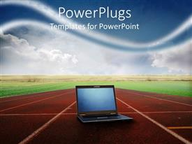 PowerPlugs: PowerPoint template with open laptop computer on center lane of running track