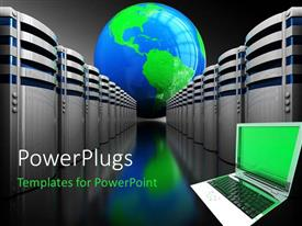 PowerPlugs: PowerPoint template with open laptop next to rows of servers in front of blue and green globe