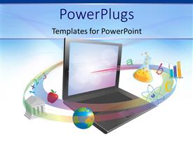 PowerPoint template displaying open laptop surrounded by swirl of educational images