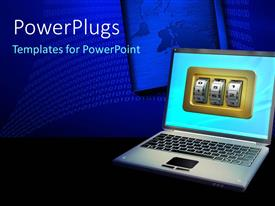 PowerPlugs: PowerPoint template with an open laptop with three security number grids on the screen