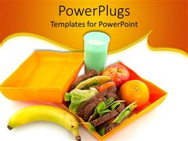 PowerPoint template displaying open lunch box with food in it, and a banana and drink beside it