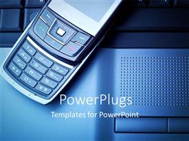 PowerPoint template displaying an open mobile phone resting on an open laptop
