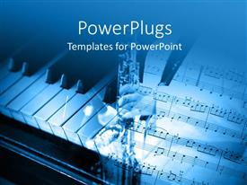 PowerPoint template displaying an open music note page and a piano by the side