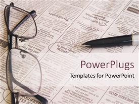 PowerPlugs: PowerPoint template with open newspaper with pen and eyeglasses, job searching newspaper
