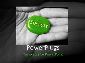 PowerPlugs: PowerPoint template with an open palm with a green pebble that has a text spelling out the word 'success'