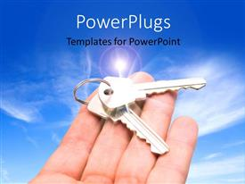 PowerPlugs: PowerPoint template with an open palm with two keys on it over a clear sky