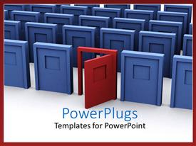 PowerPlugs: PowerPoint template with open red door among closed blue doors