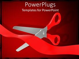 PowerPoint template displaying open scissors cutting a waving red tape on square patterned red background
