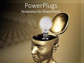 PowerPlugs: PowerPoint template with open top gold head with idea light bulb