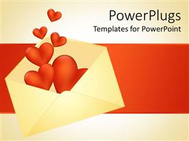 PowerPlugs: PowerPoint template with open white colored envelop with red hearts floating out