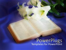 PowerPlugs: PowerPoint template with opened Bible with Lilly flowers on blue silk background