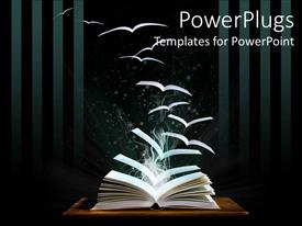 PowerPoint template displaying opened book on table with pages flying like birds out of the book fading into the black background