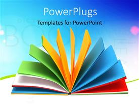 PowerPoint template displaying opened notebook with the color sheets, education keywords in the background