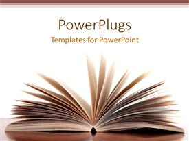 PowerPlugs: PowerPoint template with opened pages of book on desk with white background and brown frames