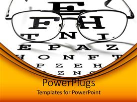 PowerPoint template displaying ophthalmology theme, optical view, eyeglasses on vision test chart