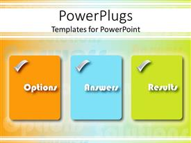 PowerPlugs: PowerPoint template with options Answers Results boxes in orange, blue and green, business