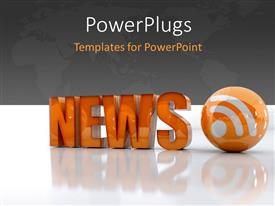 PowerPoint template displaying orange 3D word NEWS beside RSS feed icon on white surface