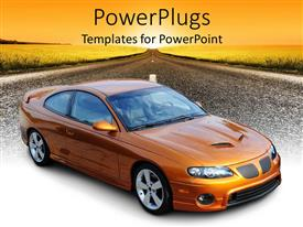 PowerPlugs: PowerPoint template with orange American sports coupe car on highway at sunset
