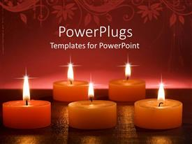 PowerPlugs: PowerPoint template with orange aromatic burning candles on golden glowing surface and abstract floral pattern on top of red background