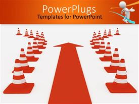 PowerPlugs: PowerPoint template with orange arrow directing towards path in between obstacle or caution signs