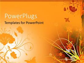 PowerPlugs: PowerPoint template with orange background with flowers and bee