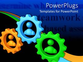 PowerPlugs: PowerPoint template with orange, blue, and green meshed gears with figures in center, teamwork