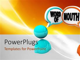 PowerPlugs: PowerPoint template with orange and blue human figures chatting on an orange background