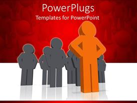 PowerPlugs: PowerPoint template with orange colored 3D man leading Grey team on white background