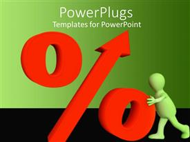 PowerPlugs: PowerPoint template with orange colored 3D percentage symbol with man holding on to it