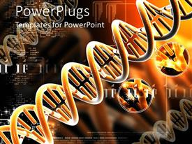 PowerPlugs: PowerPoint template with orange colored DNA structures on an orange and back background E