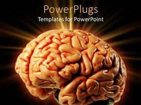 PowerPlugs: PowerPoint template with orange colored human brain sparkling with black background