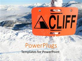 PowerPlugs: PowerPoint template with an orange colored sign post which spell out the word'cliff'