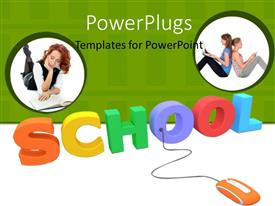 PowerPoint template displaying orange computer mouse connected to colored 3D word SCHOOL