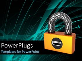 PowerPlugs: PowerPoint template with orange digital padlock with binary code in transparent arch and tech design in the background