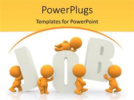 PowerPlugs: PowerPoint template with orange figures assembling white three dimensional letters JOB