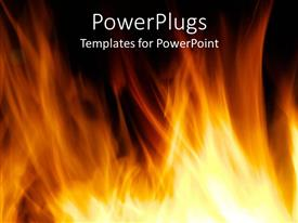 PowerPlugs: PowerPoint template with orange flames against black background, fireplace