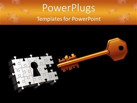 PowerPoint template displaying orange gold key with puzzle keyhole on black background with orange top margin