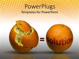PowerPoint template displaying orange half peeled with a whole orange and a Solution text