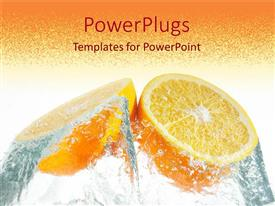 PowerPlugs: PowerPoint template with orange halves with water, healthy eating, nutrition