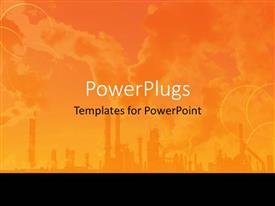 PowerPlugs: PowerPoint template with orange industrial plant with sky background, black border