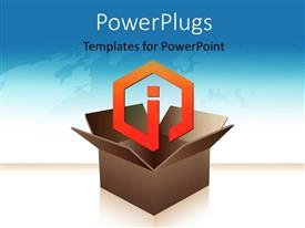 PowerPlugs: PowerPoint template with orange information icon coming out of box with world map in background
