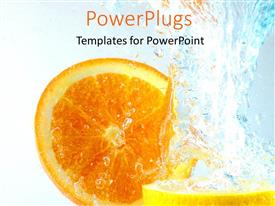 PowerPoint template displaying orange and Lemon slices in water splash